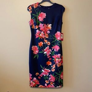 * Womens Vince Camuto Floral Navy Blue NWT Dress